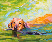 Retrievers Paintings - Nice Day for a Swim by Janine Hoefler
