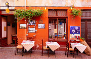 Tables Framed Prints - Nice little street cafe in Luino Italy Framed Print by Matthias Hauser
