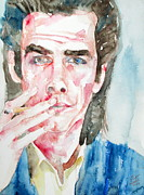 Singer Paintings - NICK CAVE SMOKING a CIGARETTE watercolor portrait by Fabrizio Cassetta