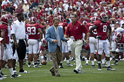 Crimson Tide Photo Prints - Nick Saban and the Tide Print by Mountain Dreams