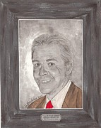 University Of Alabama Painting Prints - Nick Saban Portrait Print by Herb Strobino