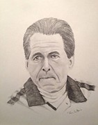 Roll Tide Drawings Posters - Nick Saban Poster by Ron Cartier