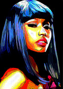 Black Nose Framed Prints - Nicki Minaj Framed Print by Byron Fli Walker