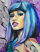 Celebrity Portraits Drawings Posters - Nicki Minaj Poster by Slaveika Aladjova