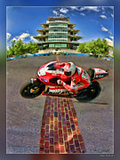 Apparel Framed Prints - Nicky Hayden Crosses The Bricks Framed Print by Blake Richards