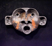 Art Sculpture Sculpture Acrylic Prints - Nico Black and Orange Mask Acrylic Print by Mark M  Mellon