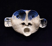 Blue Sculpture Metal Prints - Nico Cobalt Mask Metal Print by Mark M  Mellon