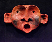 Primitive Art Sculpture Prints - Nico Red Orange and Black Mask Print by Mark M  Mellon