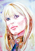 Singer Paintings - NICO watercolor portrait by Fabrizio Cassetta