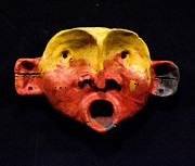 Face Reliefs - Nico Yellow and Red Mask by Mark M  Mellon