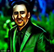 Celebrities Framed Prints - Nicolas Cage Framed Print by Tyler Robbins