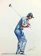 Golf Players Paintings - Nicolas Colsaerts by Mark Robinson