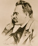 Profile Drawings Framed Prints - Nietzsche Framed Print by Anonymous