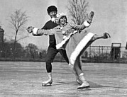 Old Skates Photo Posters - Nifty Moves On Ice Skates Poster by Underwood Archives