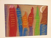 Cities Pastels Prints - Night @ NY Print by Epic Luis Art