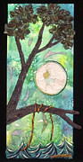 Moonscape Mixed Media Framed Prints - Night Framed Print by Andrea Beloff