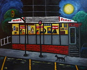 Cat And Moon Paintings - Night at an Arlington Diner by Victoria Lakes