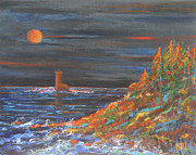 Kathy Peltomaa Lewis - Night at Mohawk Lighthouse