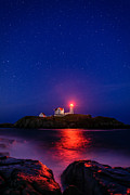 Cape Neddick Lighthouse Prints - Night at Nubble Light Print by Michael Blanchette