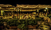 Outdoor Cafe Photo Prints - Night at the Cafe - Taormina - Italy Print by Madeline Ellis