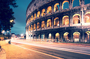 Long Street Framed Prints - Night at the colosseum Framed Print by Matteo Colombo