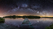 Milky Digital Art - Night at the Lake  by Aaron J Groen