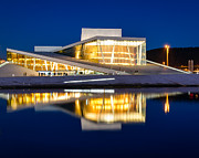 Oslo Opera House Posters - Night at the Oslo Opera House Poster by Michael Blanchette