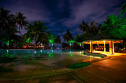 Travel Photography Prints - Night at Tropical Resort 1 Print by Jenny Rainbow