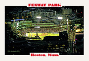 Red Sox Art Digital Art Posters - Night Baseball Fenway Park Boston Massachusetts Poster by A Gurmankin