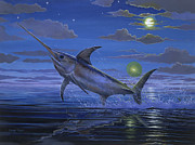 Blue Marlin Paintings - Night Bite Off0066 by Carey Chen