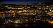 Oslo Opera House Posters - Night-Blanket Over Oslo City Poster by Lillian Molstad Andresen