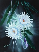 Floral Prints Prints - Night Blooming Cereus Print by Marsha Thornton