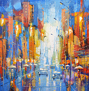 Rainy Street Painting Framed Prints - Night Boulevard Framed Print by Dmitry Spiros