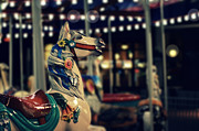 Kids Room Art Metal Prints - Night Carousel Metal Print by Laura  Fasulo