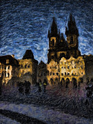 Prague Castle Paintings - Night castle by Andreas Konstantinidis
