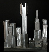 Buildings Sculpture Prints - Night City 2020 Print by April Davis