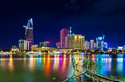 Ho Prints - Night city skylike saigon vietnam Print by Fototrav Print