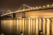 Night Descending On The Bay Bridge Print by Suzanne Luft