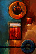Earth Tone Prints - Night Engine - Abstract Red Gold and Blue print Print by Kanayo Ede