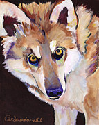 Animal Art Drawings Originals - Night Eyes by Pat Saunders-White