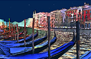 Canals Framed Prints - NIGHT FALLS in VENICE Framed Print by Linda  Parker