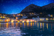 Italian Landscape Digital Art Prints - Night Falls On Beautiful Capri - Italy Print by Mark E Tisdale