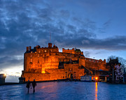 Edinburgh Art - Night Falls On Beautiful Edinburgh Castle by Mark E Tisdale