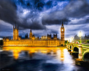 Gothic Digital Art Posters - Night Falls on British Parliament Poster by Mark E Tisdale