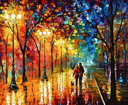 Original Fall Landscape Paintings - Night Fantasy by Leonid Afremov