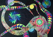 Quilts Tapestries - Textiles Metal Prints - Night Galaxy Metal Print by Patty Caldwell