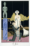 Spats Framed Prints - Night Framed Print by Georges Barbier