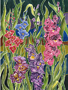 Gladiolas Paintings - Night Glads by Connie Ely McClure