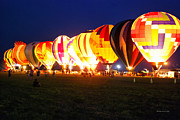 Central Illinois Posters - Night Glow Hot Air Balloons Poster by Thomas Woolworth