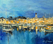 Night Lamp Paintings - Night harbour impression by Luke Karcz